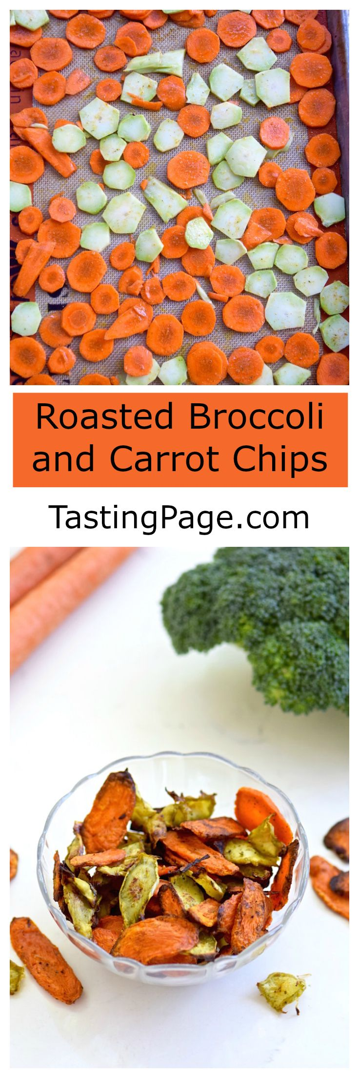 Carrot and Broccoli Chips - a healthy gluten free veggie snack | TastingPage.com