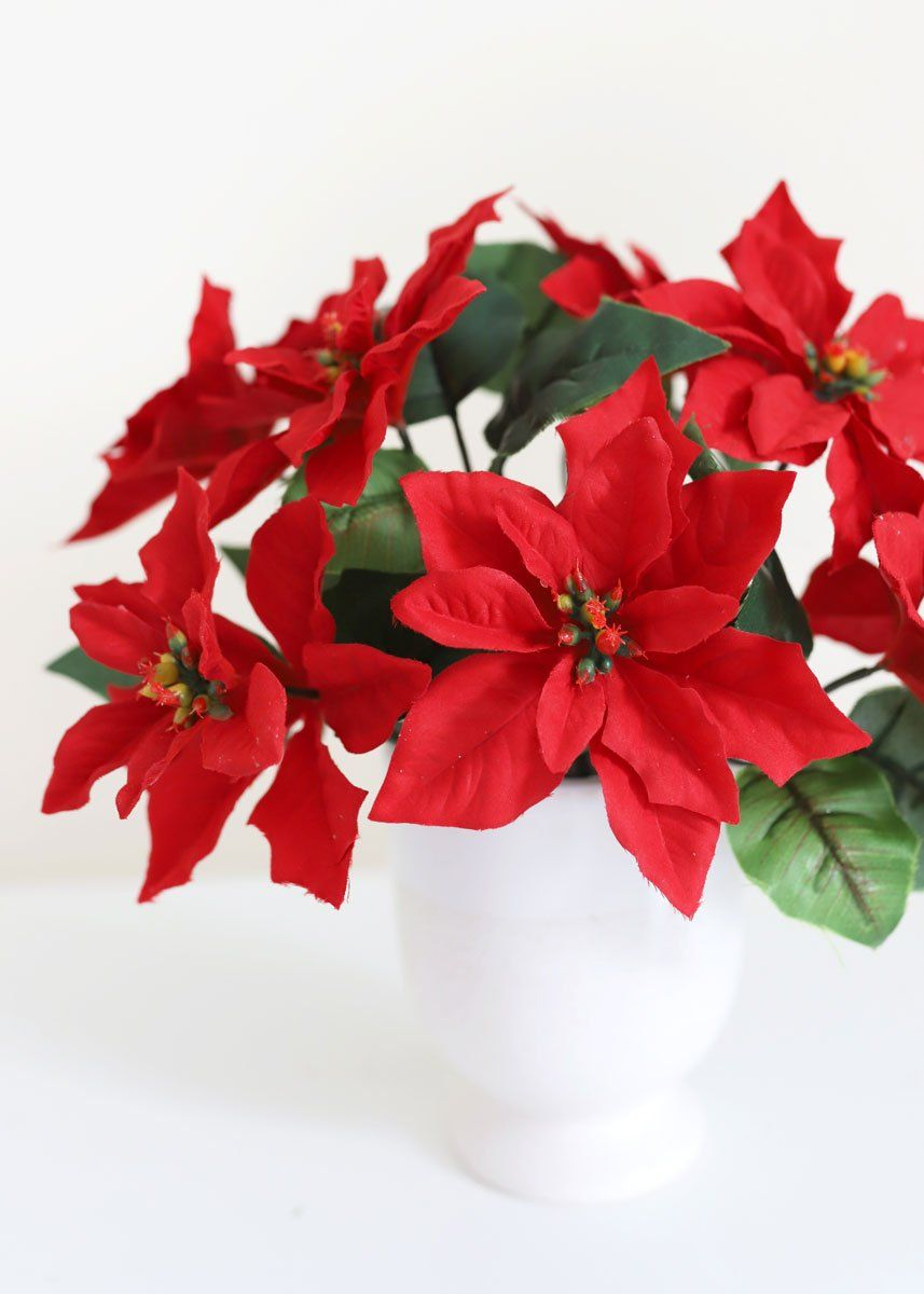 Outdoor Water Resistant Artificial Poinsettia Bush In Red In 2020 Artificial Flowers Plants Christmas Flowers Fake Flowers