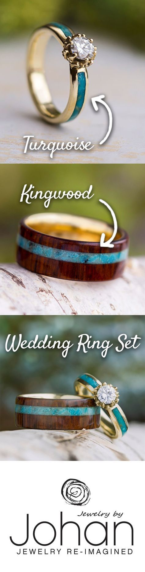 Turquoise Wedding Ring Set, Moissanite Engagement Ring With Wood Band-3635