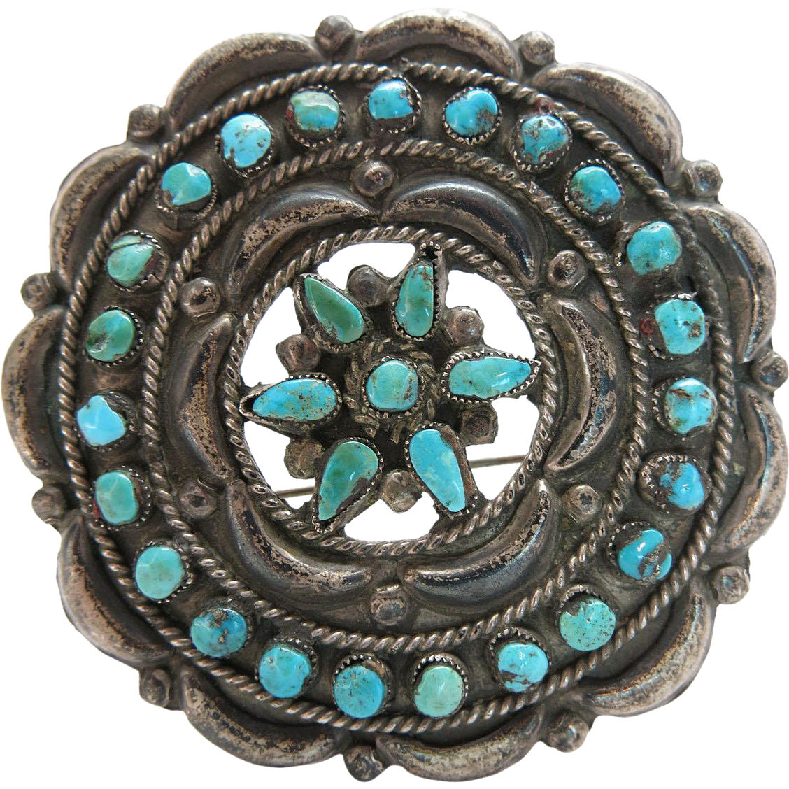 1940's Vintage Navajo Silver Brooch / Pin With Petit-Point And Snake-Eye Turquoise - 1940's Vintage Navajo Silver Brooch / Pin With Petit-Point And Snake-Eye Turquoise