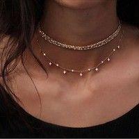 Collar simple cuadrado de oro rosa Collar largo en capas sexy | Deseo