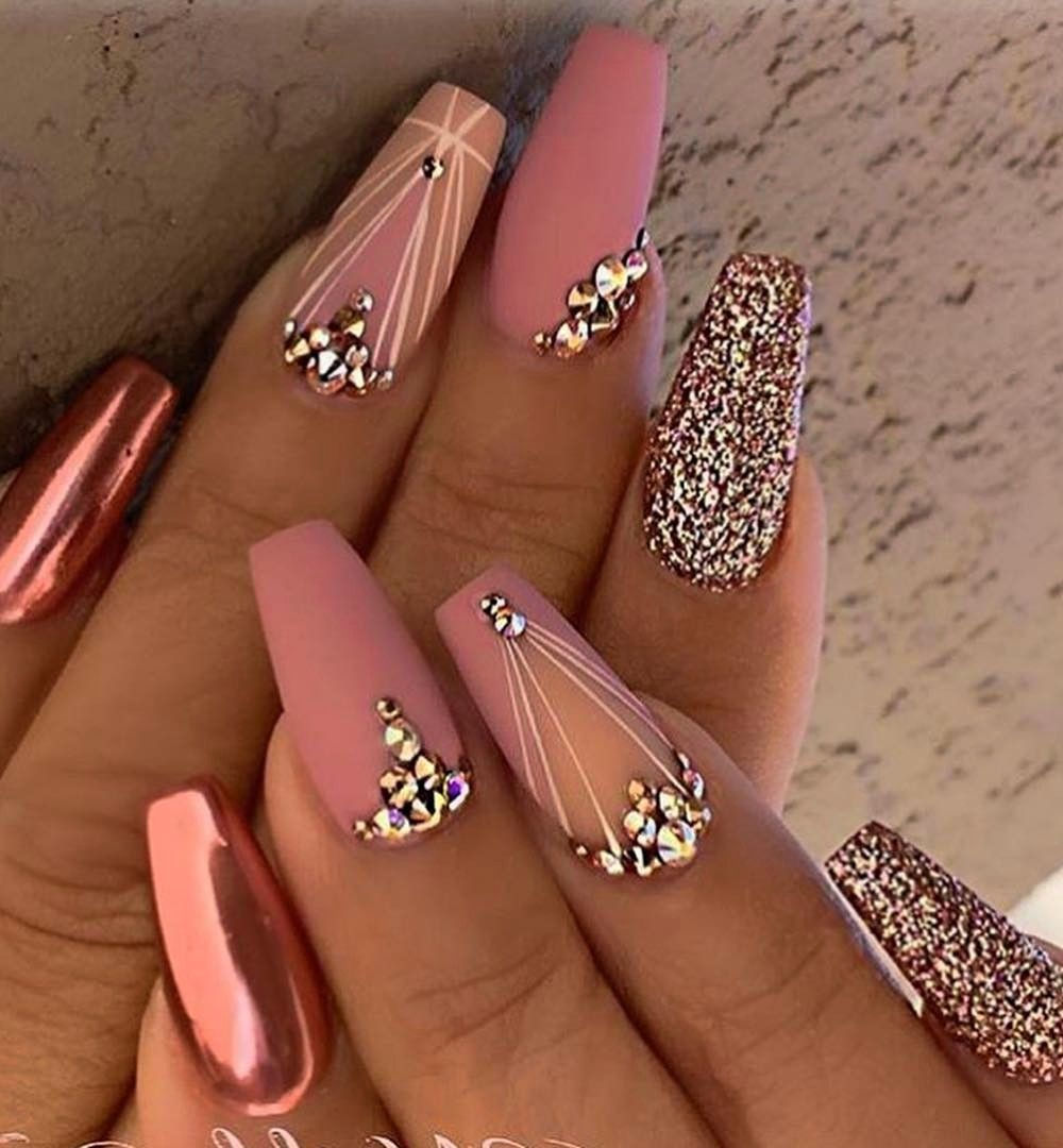 100 Amazingly Gel Nail Art Ideas To Try Right Now Rose Gold Nails Design Gold Nail Designs Quinceanera Nails