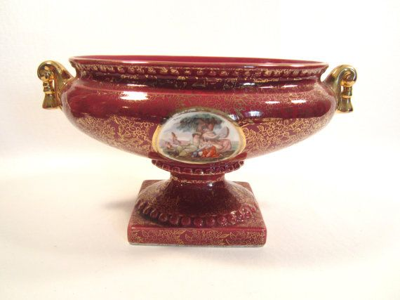 Vintage Burgundy and Gold Small Pedestal by cottagewhimsies