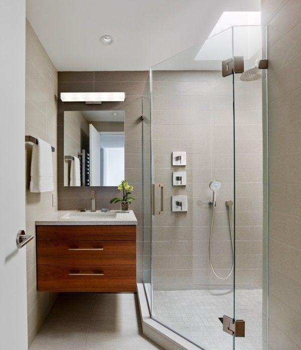 Ideas Ealing Mid Century Modern Bathroom Vanity With Ceramic Built In Sink Countertop And Floating Cabinets Storage Using Wood Veneer Laminate