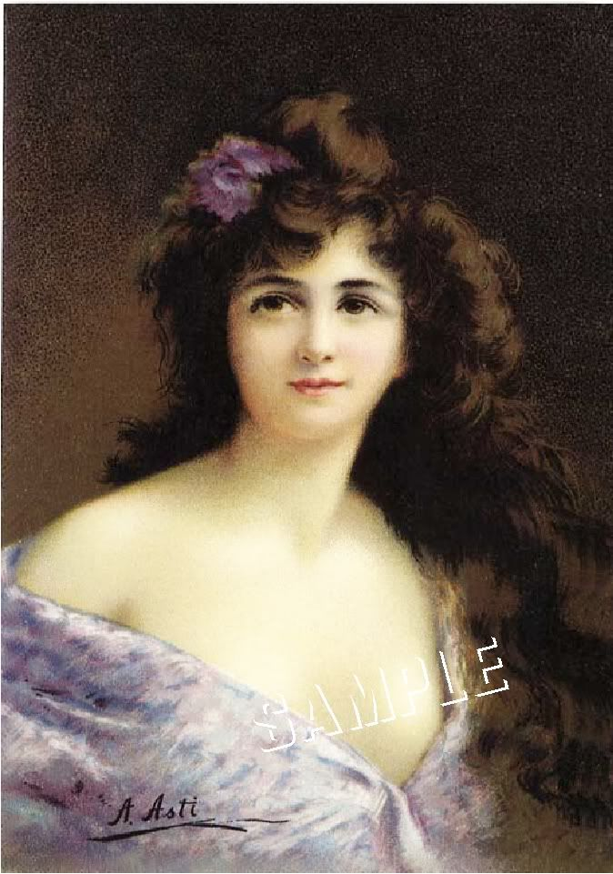 Details about VICTORIAN LADY in LILAC GOWN *CANVAS* ART ...