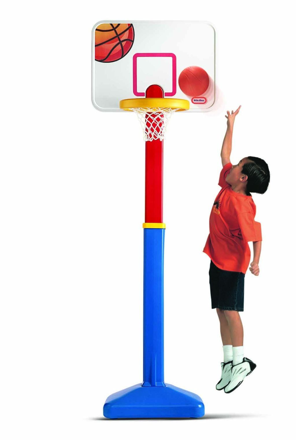 Little Tikes Adjust N Jam Basketball Set 5 Height Adjustments From 4 6 Feet Tall Indoor Or Outdoor Use Includes A Breakaway Rim