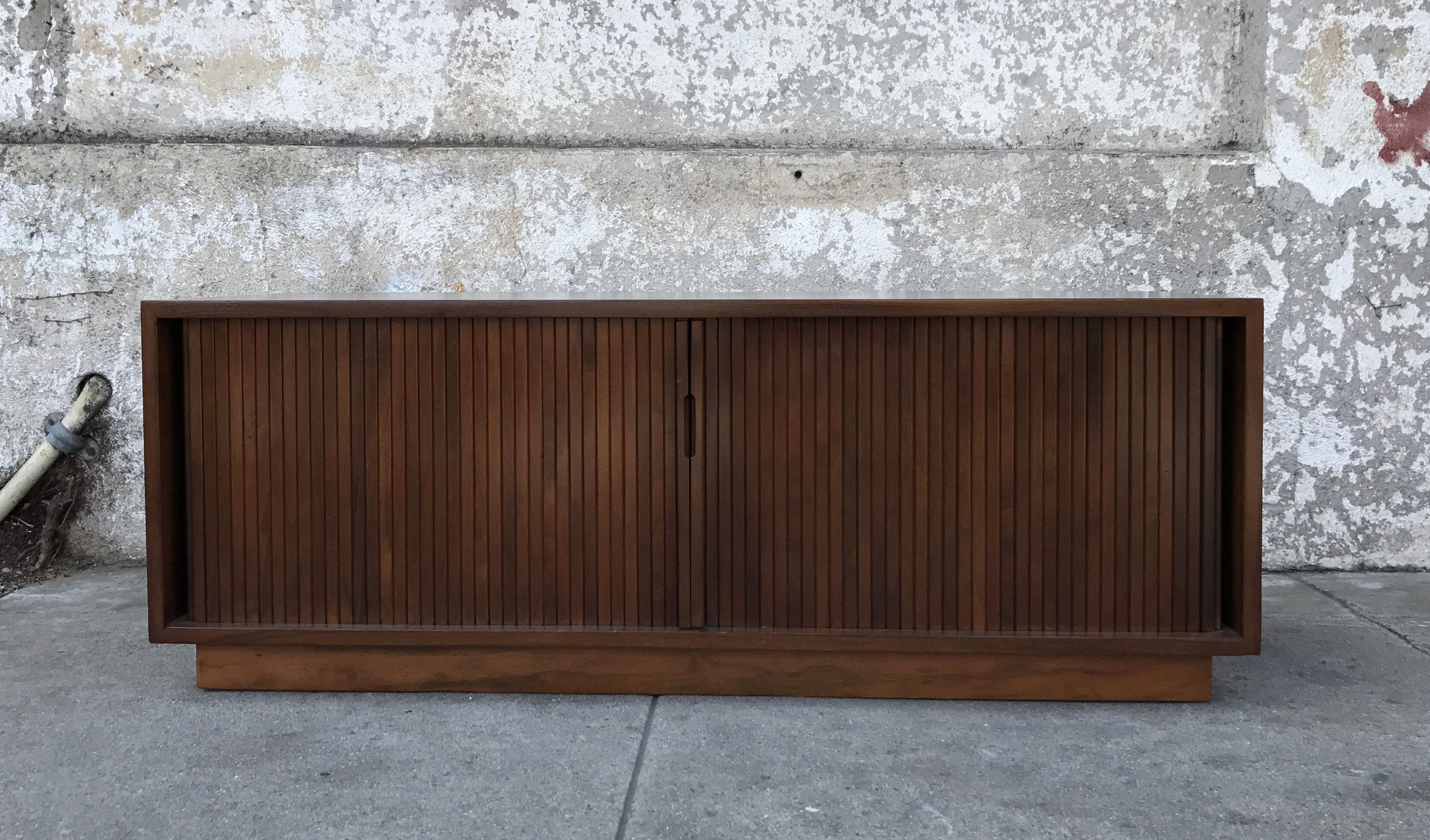 Walnut Vintage Tambour Low Profile Media Cabinet or Lp Holder