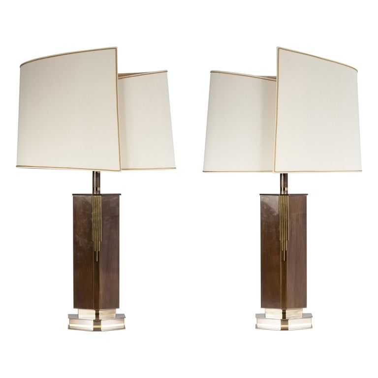 Pair Of Table Lamps In Brass Circa 1970 By Belgo Chrome In 2020 Table Lamp Chrome Brass Table Lamps