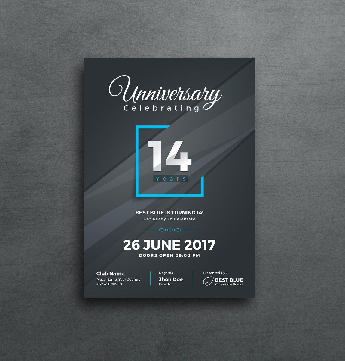 Artemis Stylish Anniversary Invitation Template Graphic Templates Templat Undangan Desain Kartu Undangan Desain Undangan
