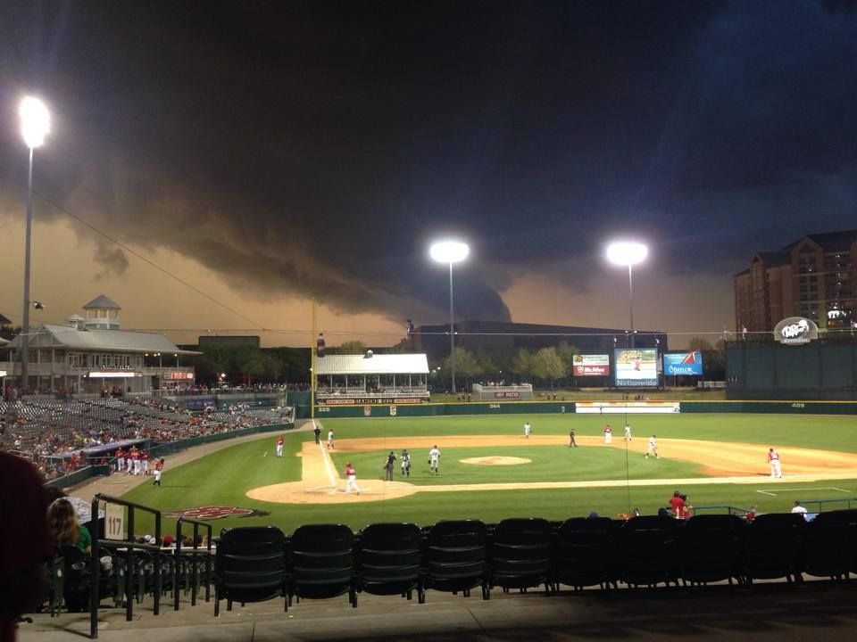 Twister forming near Dr Pepper Park, Frisco, TX during