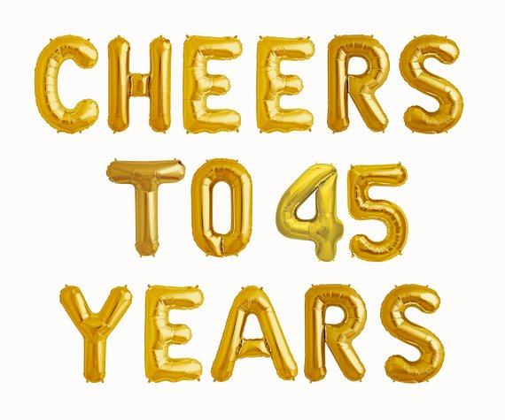 Cheers To 45 Years Balloons
