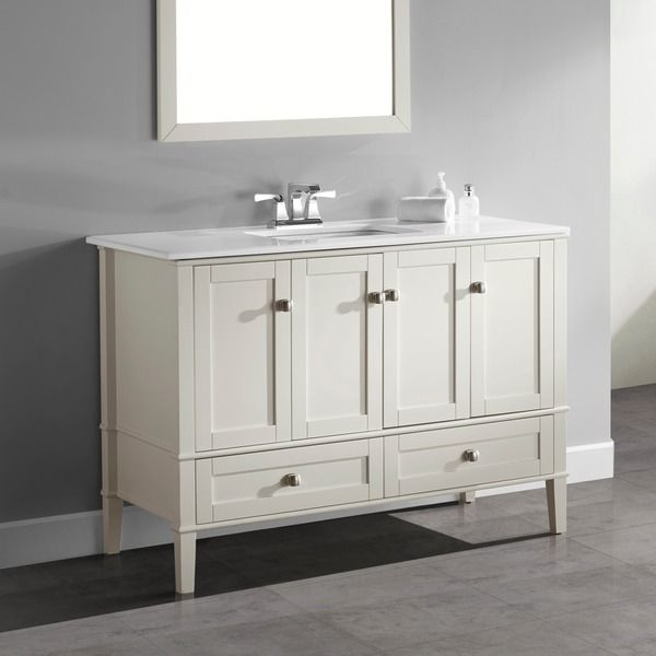 Good WYNDENHALL Windham Soft White 48 Inch 2 Door 2 Drawer Bath Vanity With