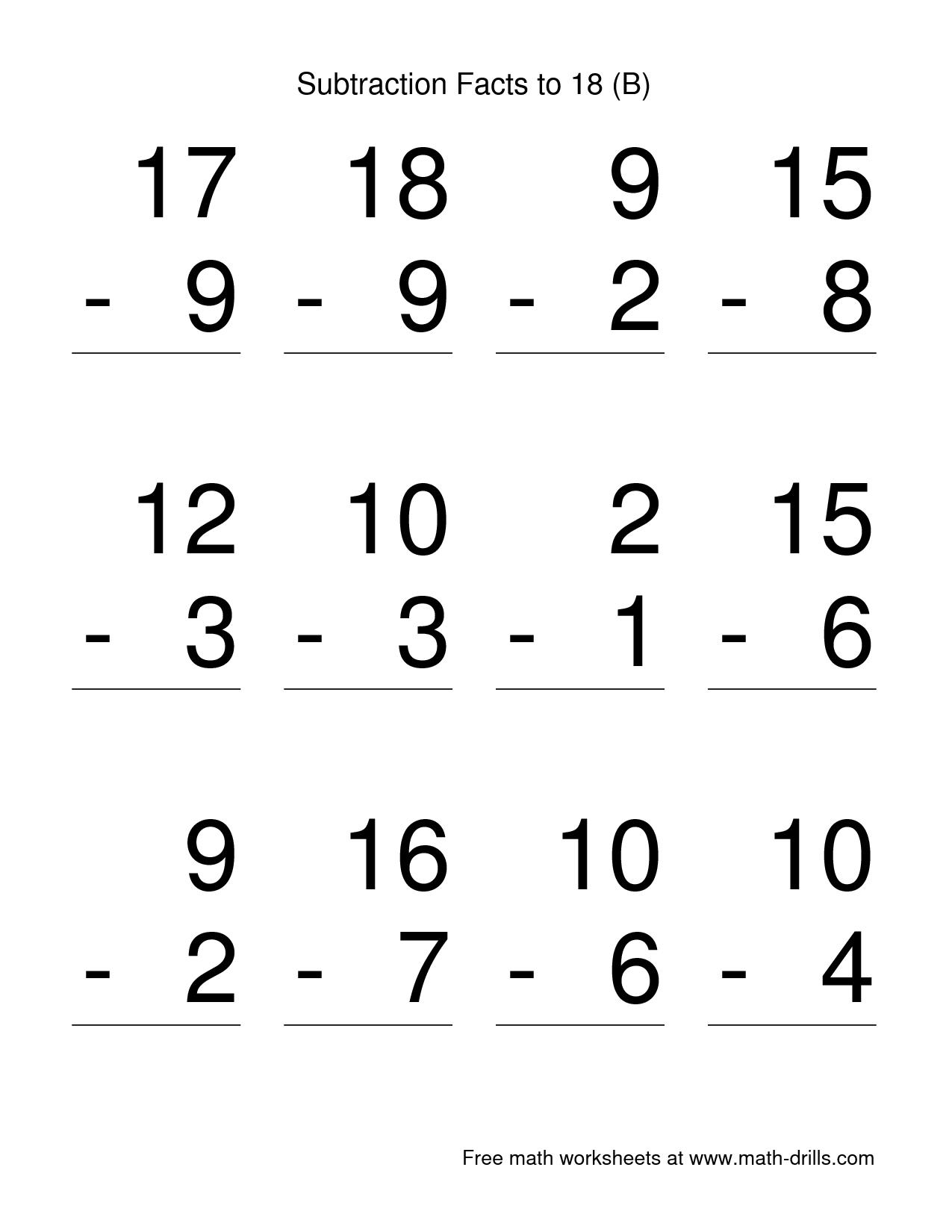 First Grade Math Subtraction Worksheets Math Worksheets 1st