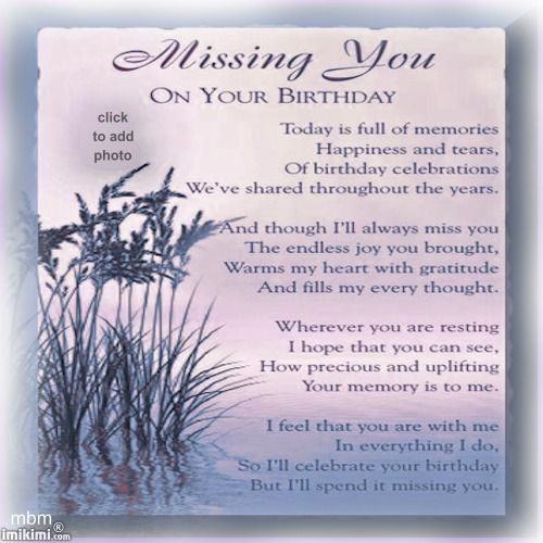 Missing You On Your Birthday Poem