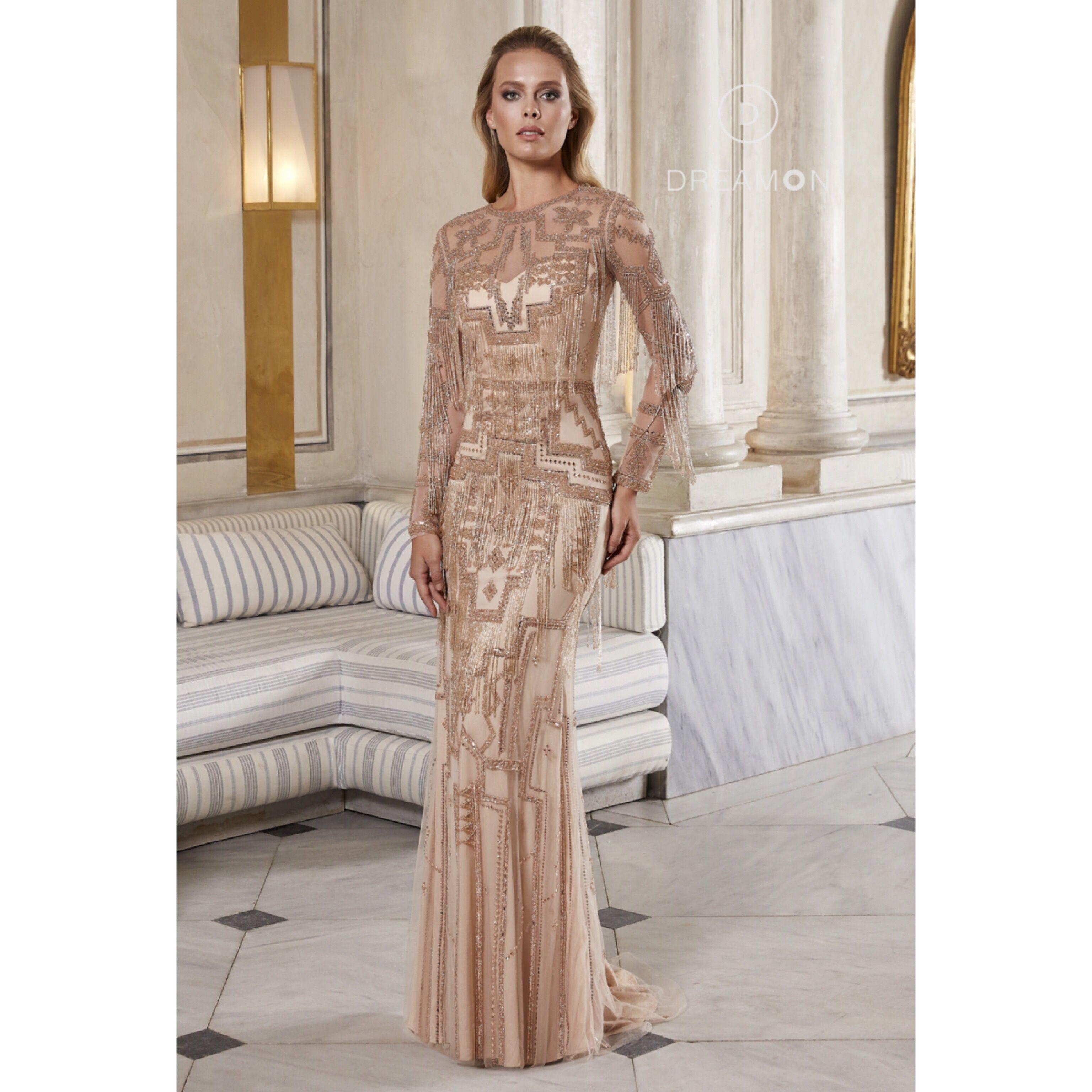 Asteria Tasli Pariltili Uzun Kollu Ithal Abiye Elbise Dreamon Com Tr Aksamustu Giysileri The Dress Uzun Kollu