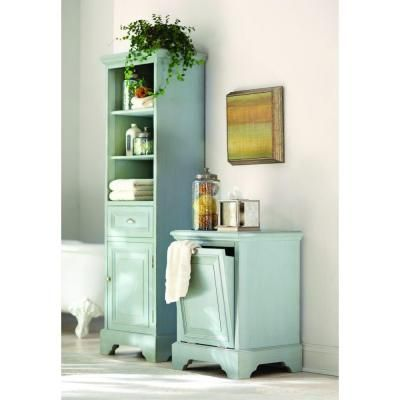 Home Decorators Collection Sadie 20 In W X 14 In D X 65 In H 3 Shelf Bathroom Storage Linen Floor Cabinet In Antique Blue 1668600350 The Home Depot Top Bathroom Design Bathroom Storage Bathroom Decor