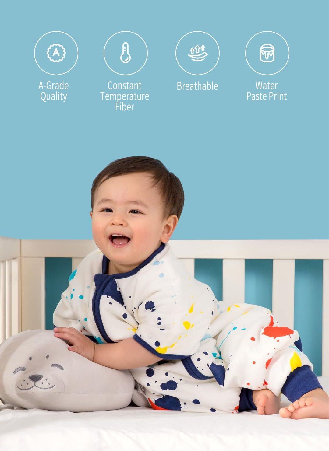 Original Xiaomi Mijia Snuggle World Baby Infant Swaddling Cloth Sleeping Bag Pajamas For 0 4