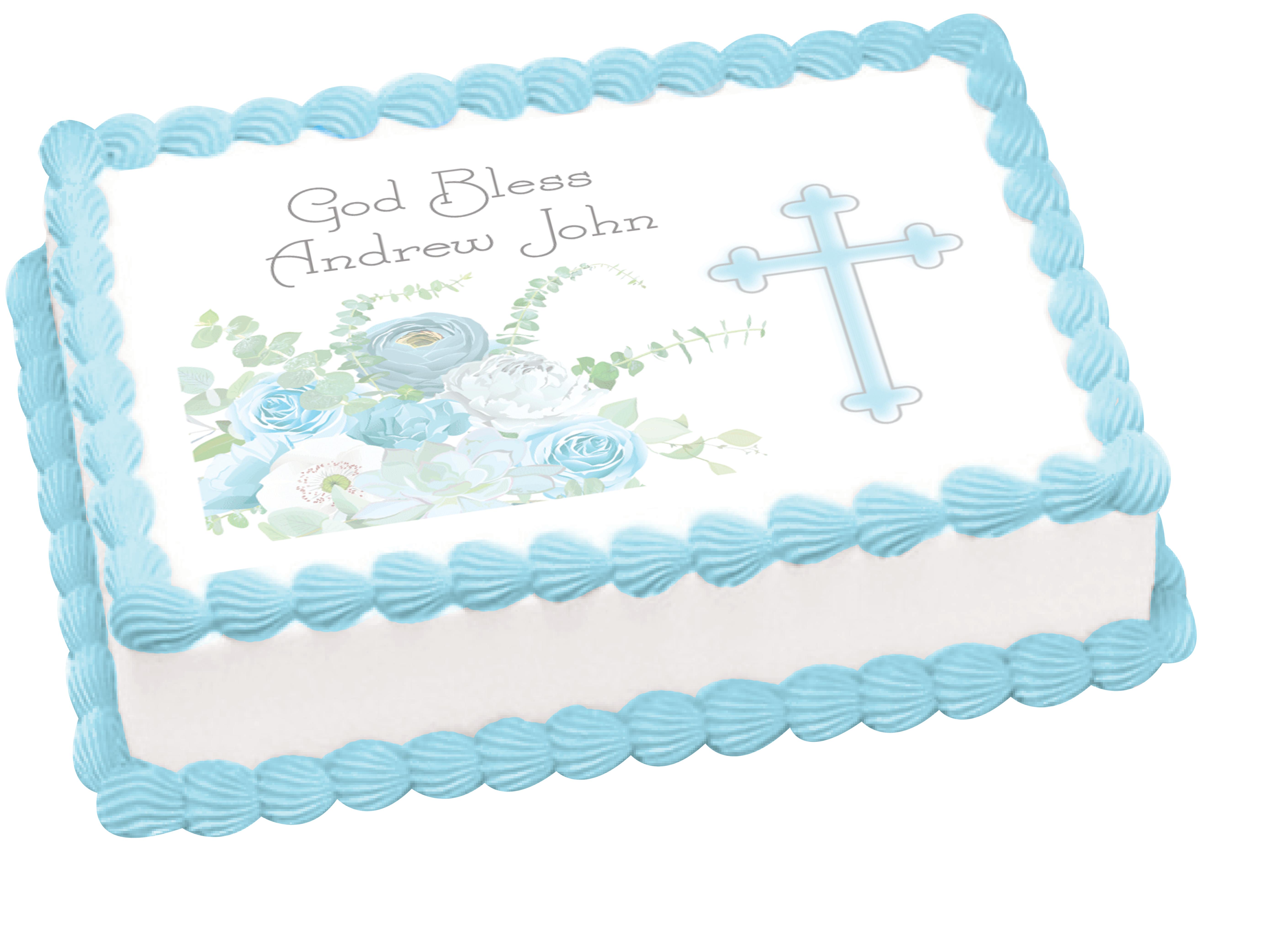 Baptism Blue Flowers Edible Cake Image By Embellished Custom Crafts