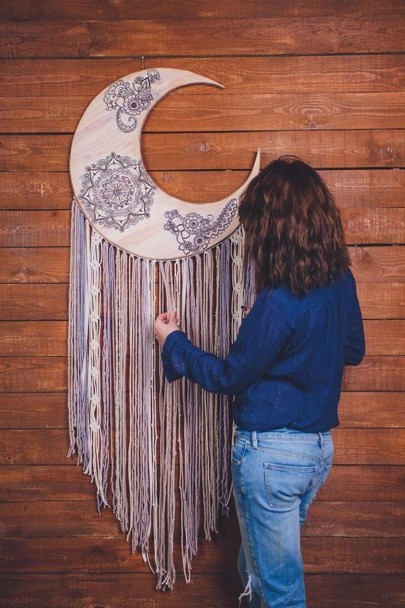 Moon wall art moon phase wall hanging moon dream catcher | Etsy  #boho #dreamcatcher #wallhanging #decor #bohodecor