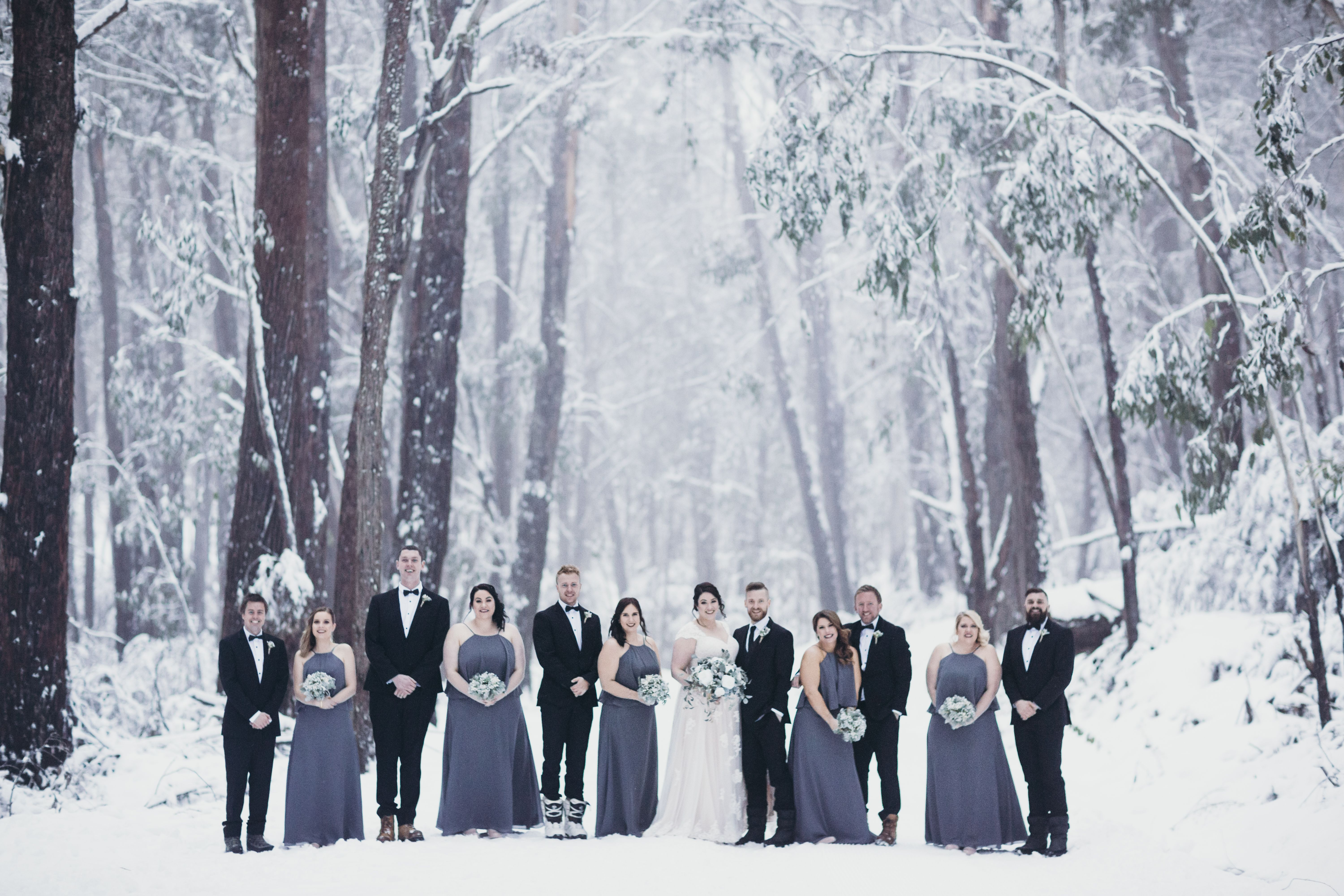 We Love A Snow Wedding 3 Bridesmaids Wearing Our Sorella Vita 8736 3 Debutante Gowns Snow Wedding Bridal