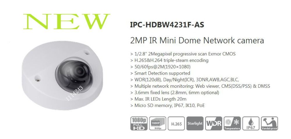 Free Shipping Dahua Security Ip Camera 2mp 1080p Ir Mini Dome Network Camera Ip67 Ik10 With Poe Without Logo Ipc Hdbw42 Ip Camera Video Surveillance Networking