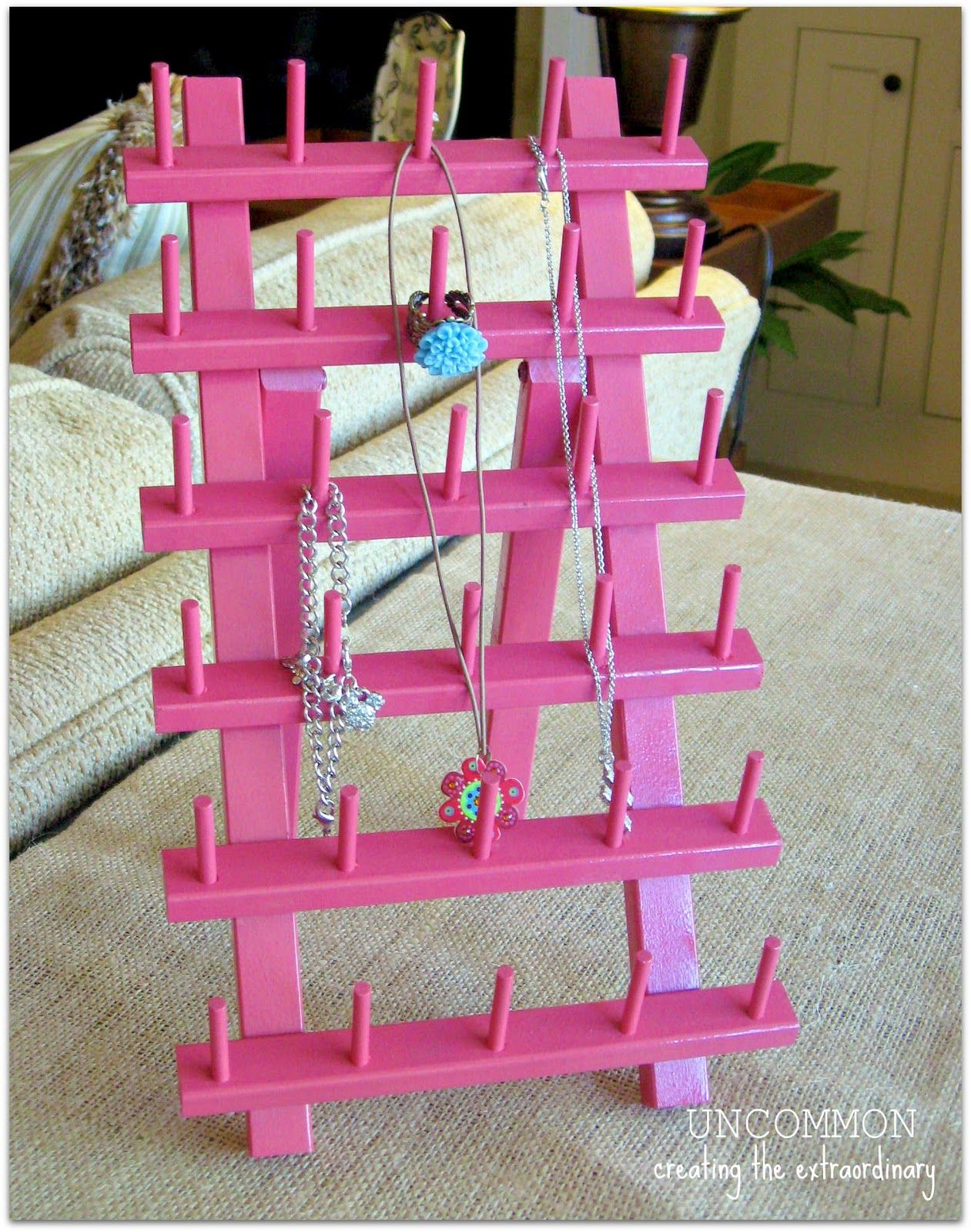 #Jewelry Holder from #Thread Rack...{ Organizing in 2012 } | Uncommon