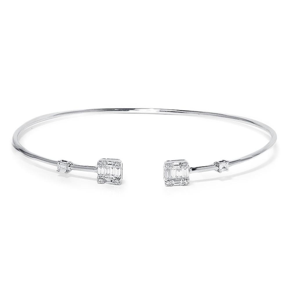 Thin Diamond Bangle With Baguettes In 18kt White Gold 75ctw Tennis Bracelet Diamond Diamond Bangle Bangles