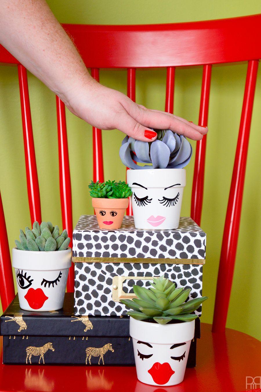 Vinyl Face Succulent Planters Face planters, Planters