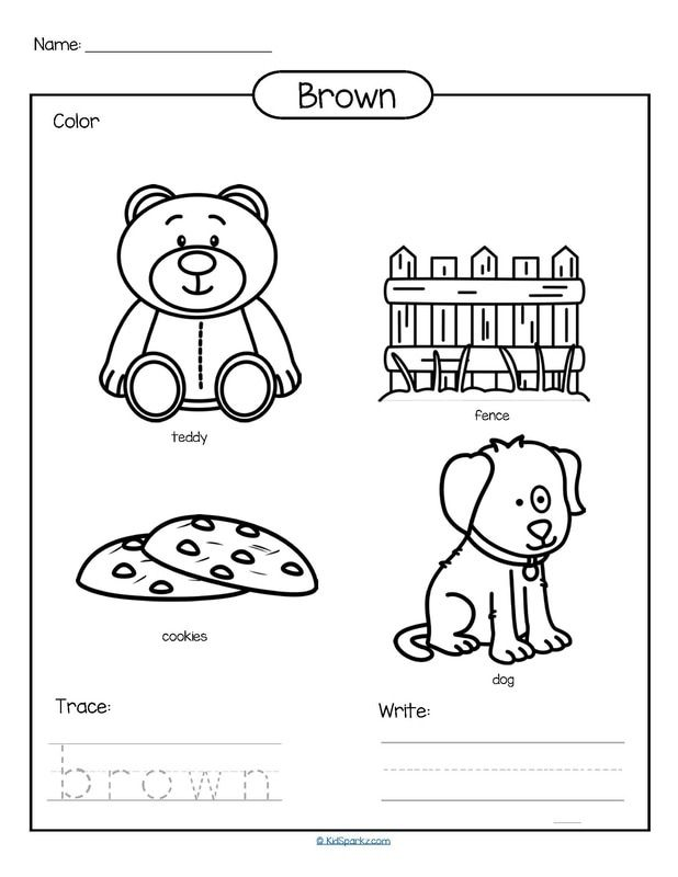 Color Brown Printable Color Trace And Write Color Worksheets Preschool Colors Learning Colors Activities Coloring worksheets for kindergarten