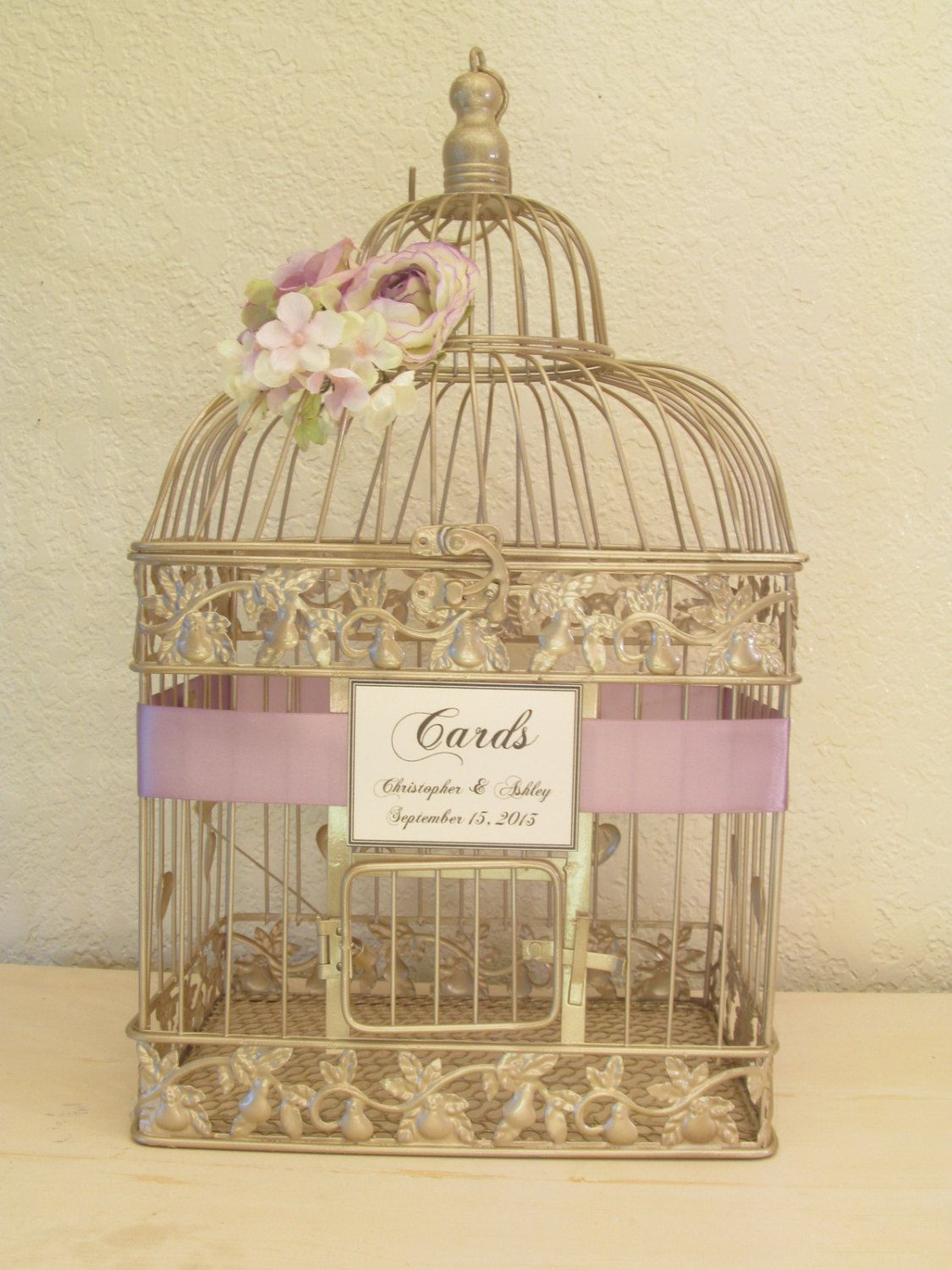 Wedding Card Box Champagne Birdcage Bird By Southburytreasures