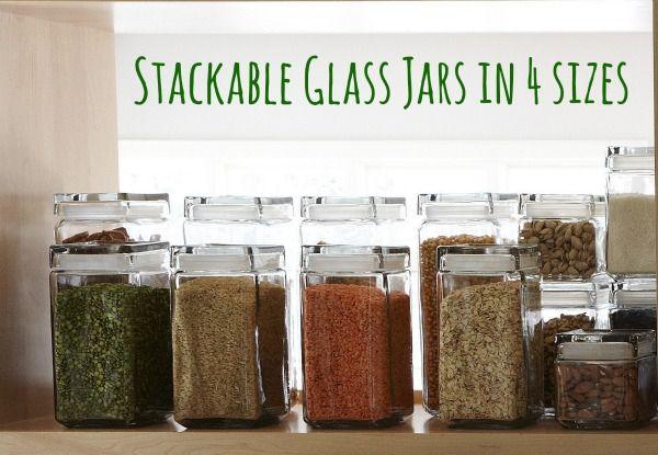 stackable glass jar with lid multiple sizes healthy home makeover glass food storage. Black Bedroom Furniture Sets. Home Design Ideas
