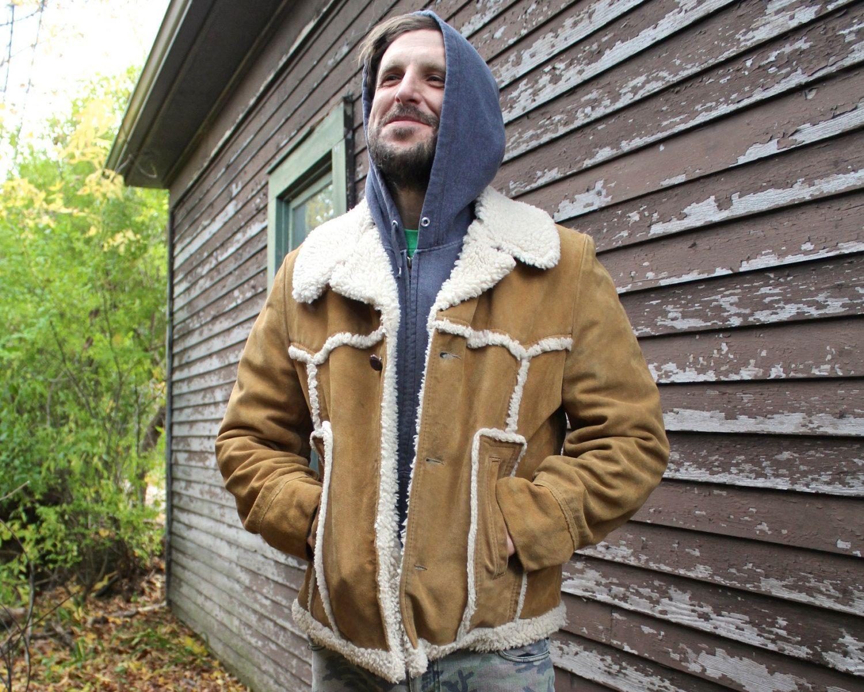 70s Suede Sherpa Jacket MARLBORO MAN Medium Size Sheepskin Wool ...