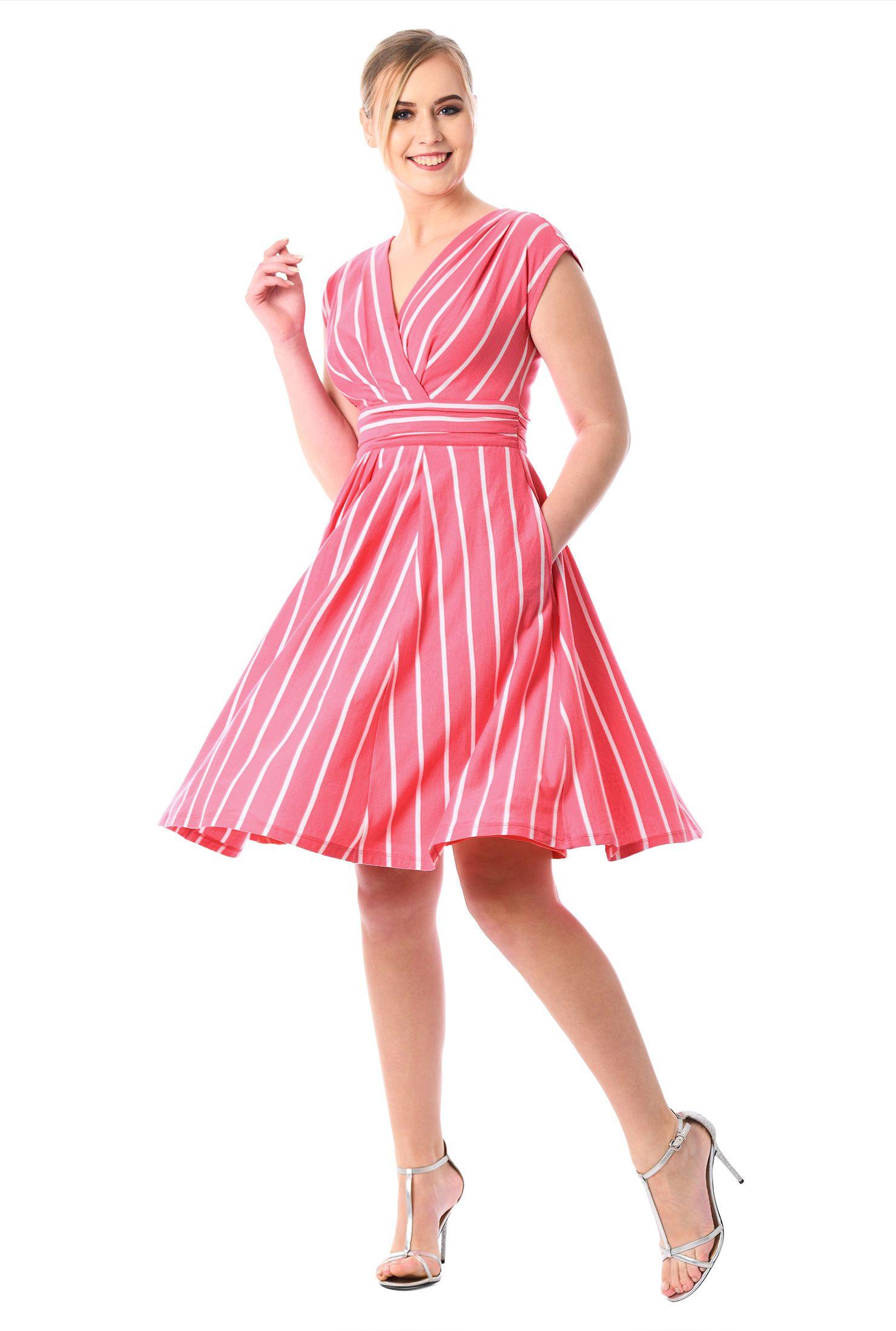 Stripe cotton knit surplice dress jersey knit dress surplice