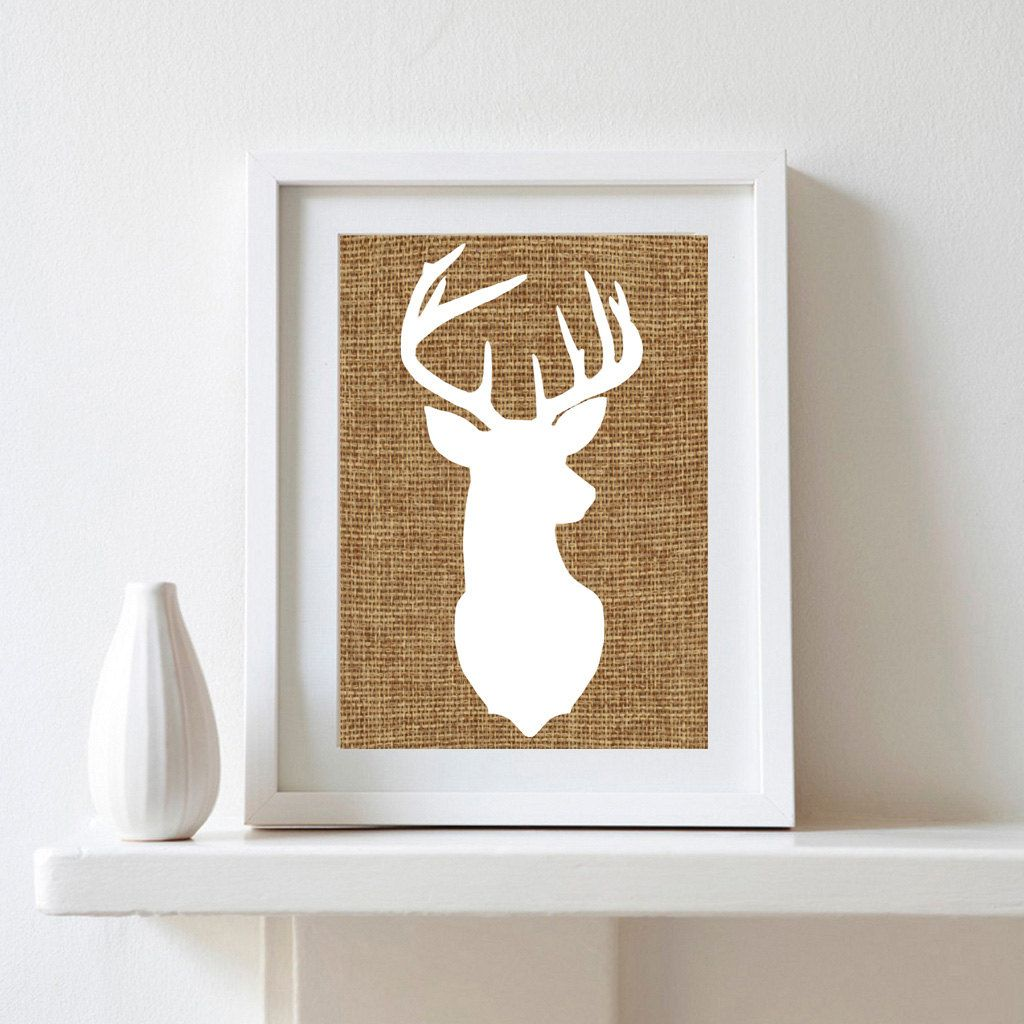 Burlap deer silhouette x digital print by denizenashprints