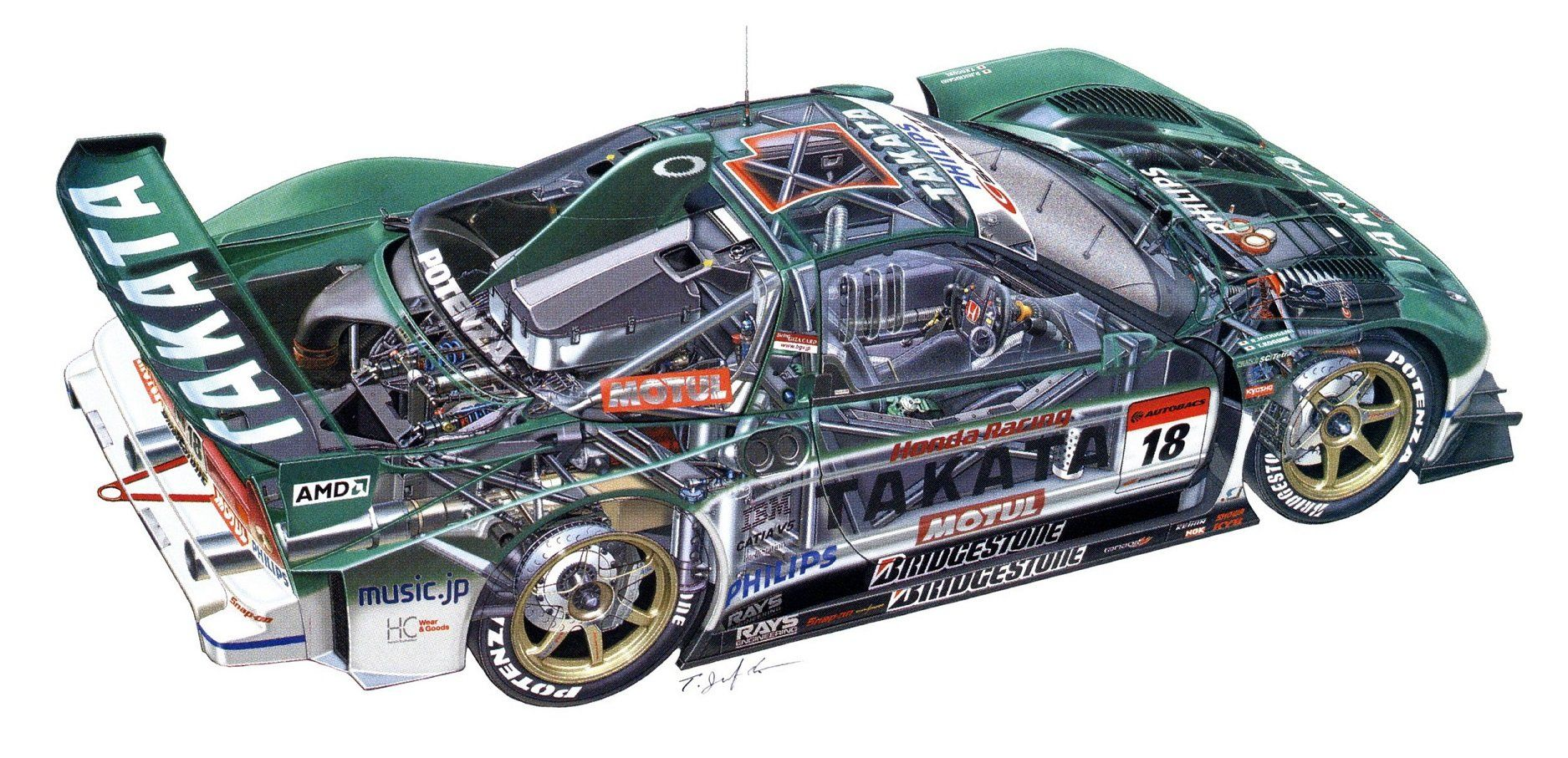 Honda Nsx Takata Dome Nsx Jgtc Super Gt Cars Racecars Technical Cutaway Wallpaper Nsx Gt Cars Honda