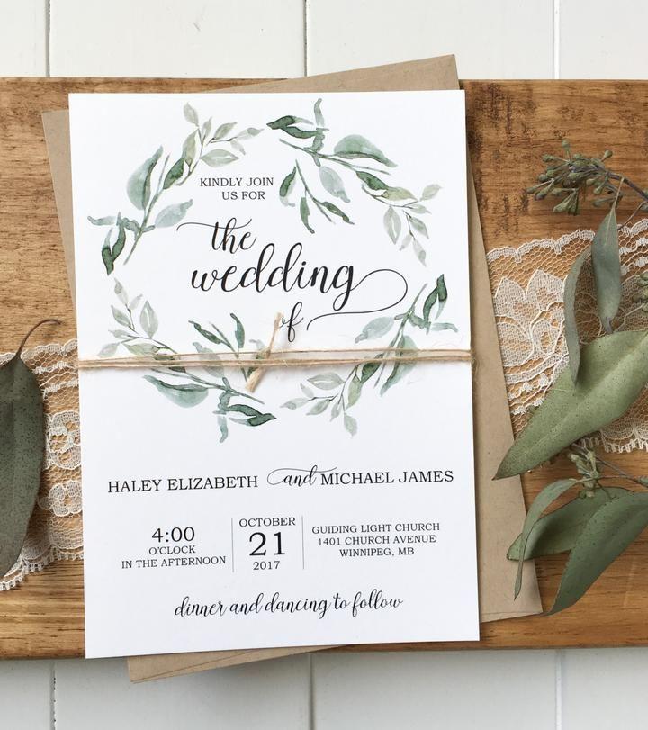 Modern Wedding Invitation Rustic Chic Green Wedding Invitations Eucalyptus Wedding Invitation Modern Rustic Wedding Invitation