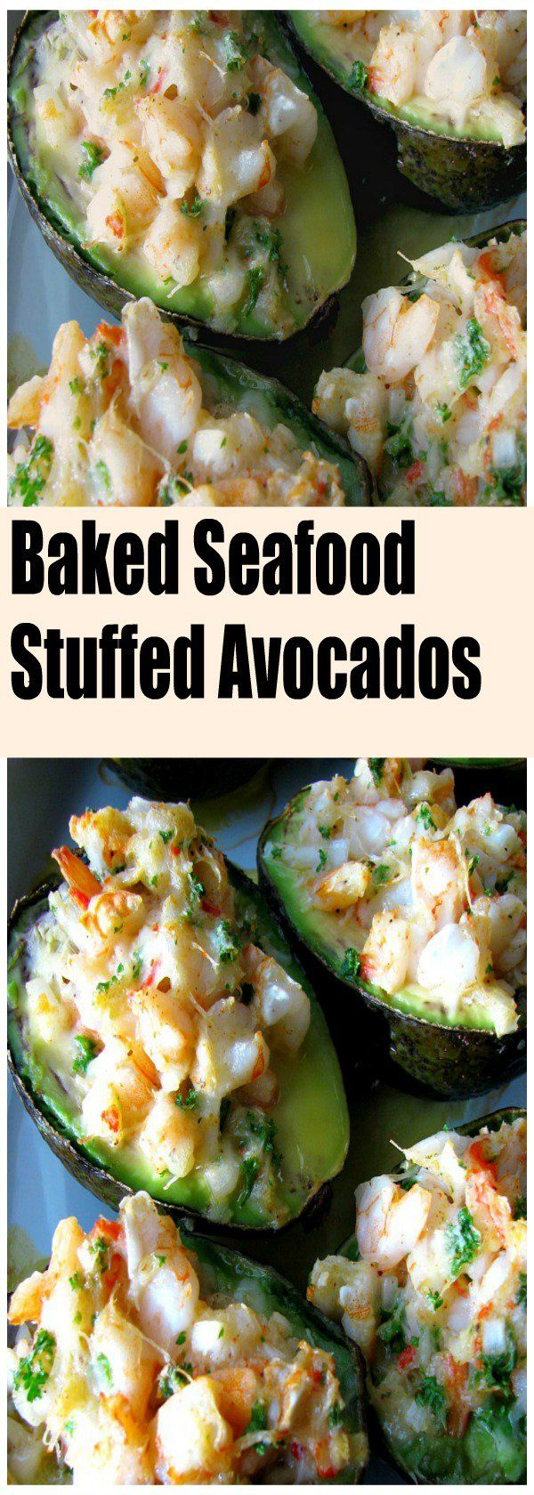 Baked Seafood Stuffed Avocados #seafooddishes