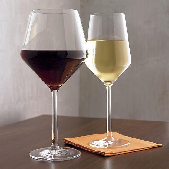 White wine glass in wine glasses crate and barrel
