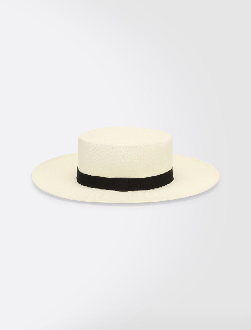 013e1a35e7f172 Max Mara, 2018 / NOTIZIA / white: Wide-brimmed hat / Wide-brimmed gondolier  hat made with paper yarn and finished with black grosgrain ribbon.