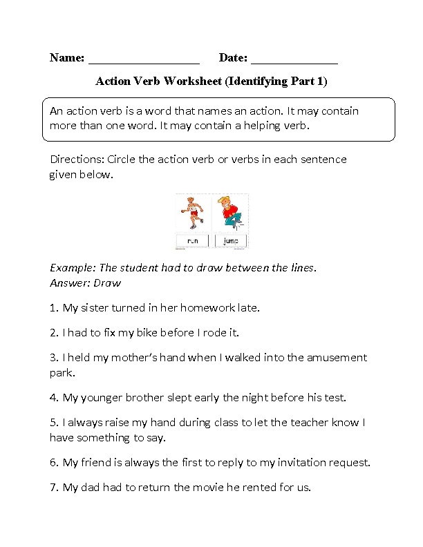 Identifying Action Verbs Worksheet Part 1 | Furry friends ...