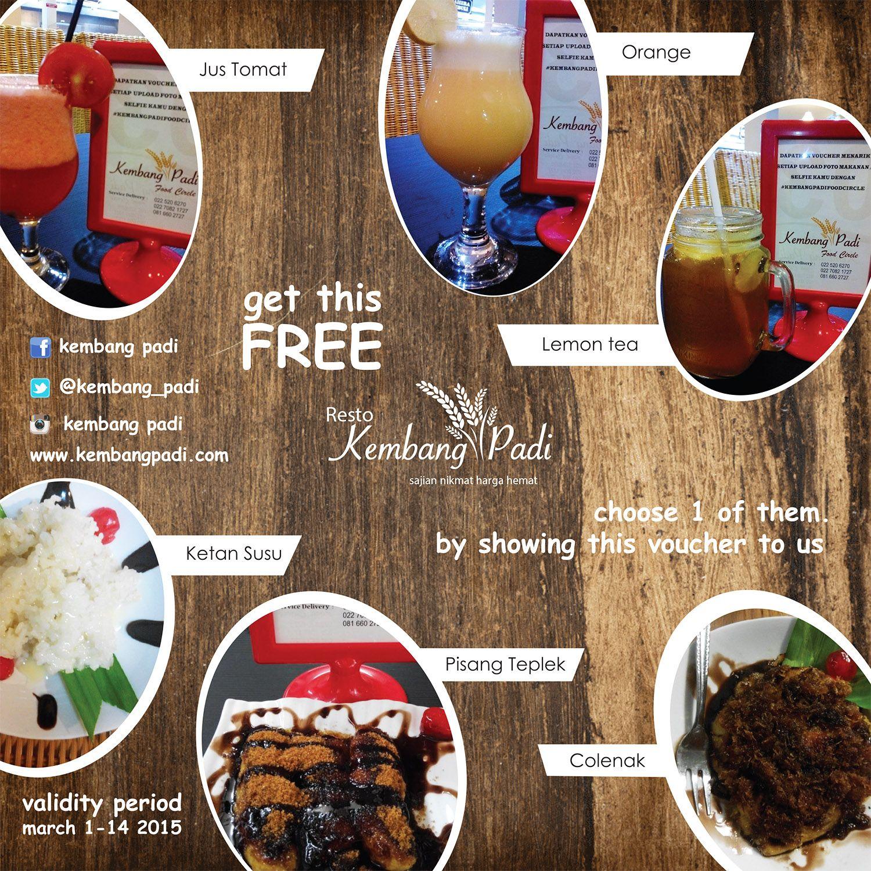 Dapatkan Voucher Minum gratis di kembang padi jln sriwijaya 98 Bandung dengan menunjukan voucher ini anda langsung dapet gratis minuman gan lumayan kan burun dateng ya gan ini berlaku sampai tanggal 14 aja gan
