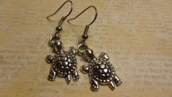 Cute Silver Turtle Charm Earrings by ArtisticDesignsKS on Etsy, $4.99