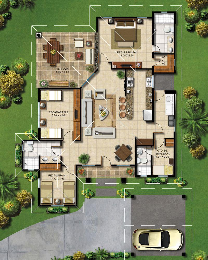 Pin de mi sala en ideas casas casas r sticas y planos for Distribucion de casas modernas de una planta