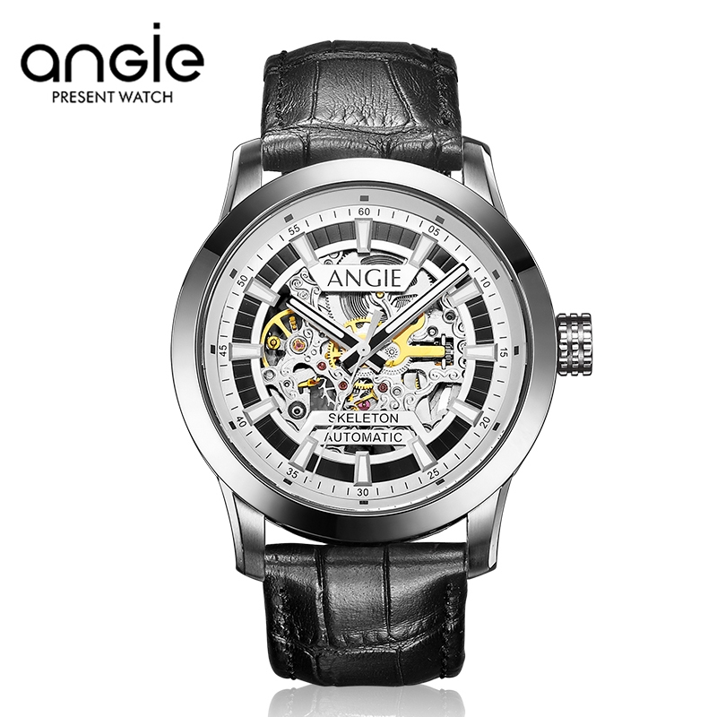 89.56$  Buy now - http://ali7rb.worldwells.pw/go.php?t=32716488617 - ANGIE Men Business Design Mechanical Skeleton Watches Genuine Leather Watch Gold Dial Winner Watches Military Men Wristwatch