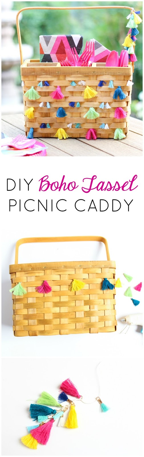 Tassel Decorated Picnic Caddy | Utensils, Picnics and Tassels