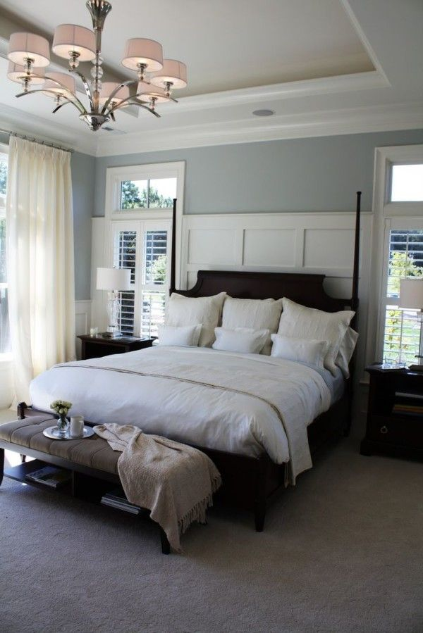 Master Bedroom Colors With Dark Wood Furniture Including Satin Nickel Ring  Pulls Adhered On Small Bedside