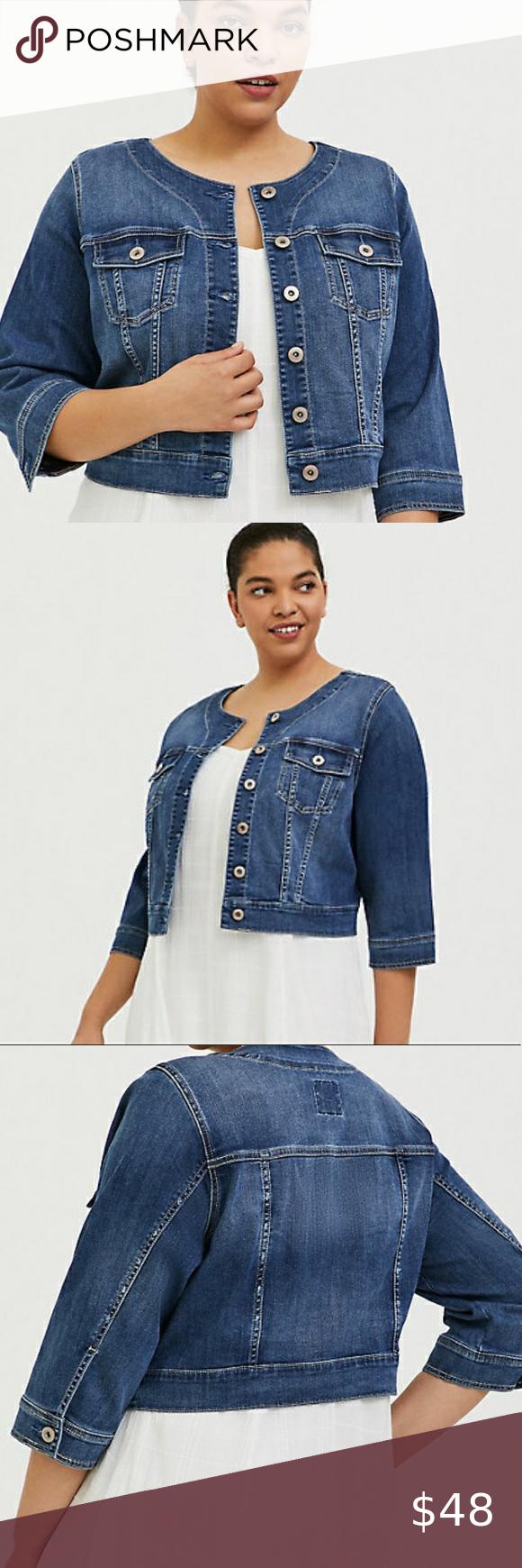 Torrid Collarless Jean Jacket Nwt Size 3x Collarless Jean Jacket Jackets [ 1740 x 580 Pixel ]