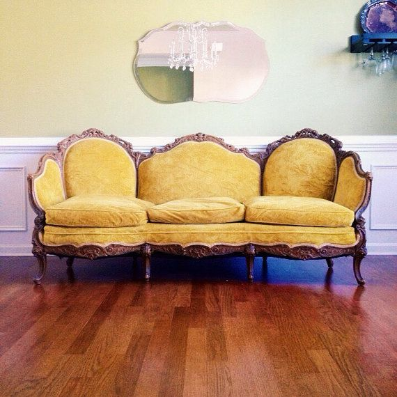 Vintage Yellow Sofa Antique Victorian Couch Mustard Yellow