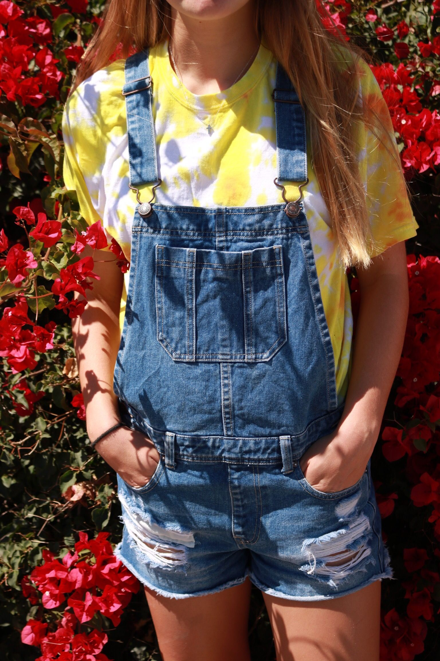 112270c3a8f4 overalls tie dye shirt aesthetic flowers