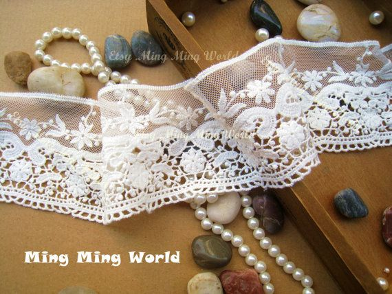 Cotton and Net Embroidered Lace 2 Yards Ivory by mingmingworld